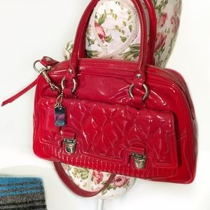 Coach Red Liquid Gloss Quilted Poppy Crossbody Bag
